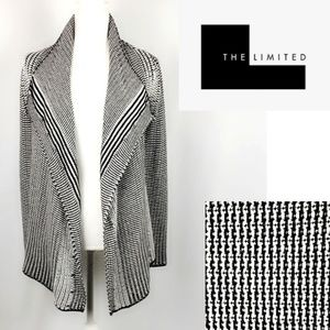 The Limited Woven Cotton Cardigan Black White S/M